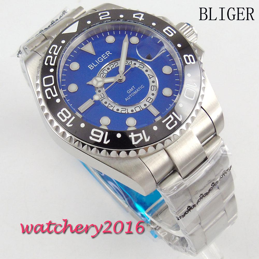 43mm Bliger blue dial ceramic bezel GMT luminous hands sapphire glass Automatic Men's Mingzhu Movement Mechanical Wristwatches 44mm bliger gray dial blue ceramic bezel sapphire crystal automatic movement men s mechanical wristwatches