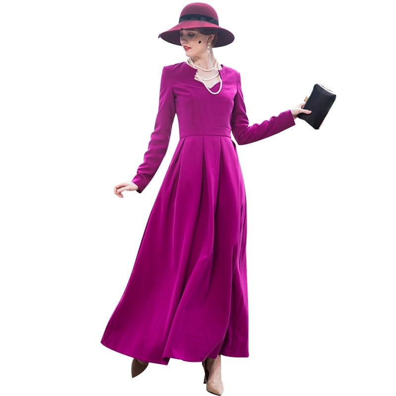 2018 Automne Tranchée Robe Automne Violet Rouge Manches Longues De Mariage de Soirée de Partie Vêtements Femmes robe de Bal DZ8052