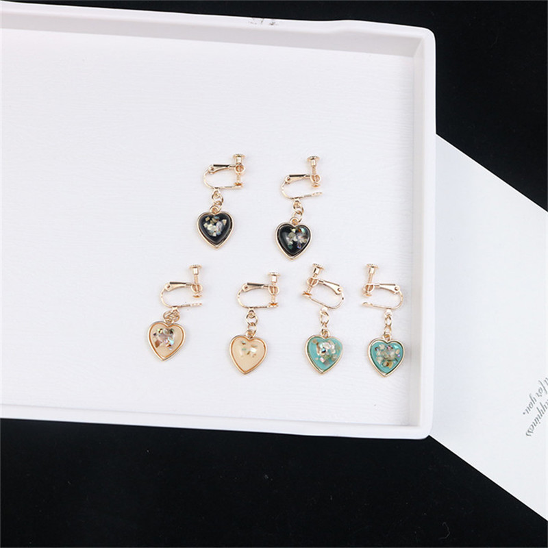 Korean INS Cartoon Heart Mermaid Tears Simple Cute Sweet Woman Girl Clip Earrings Fashion Jewelry-LAF