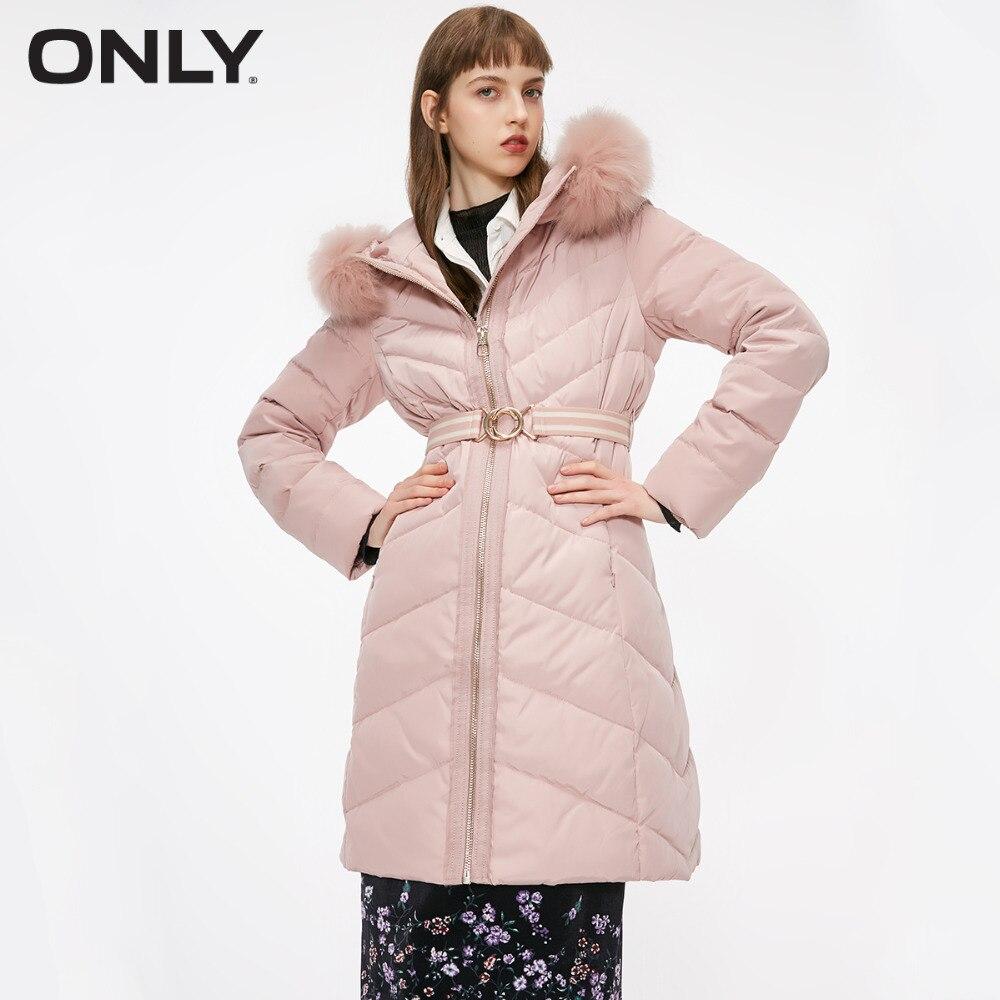 ONLY femmes fourrure de raton laveur col zippé Style moyen à capuche doudoune | 118312526 - 2
