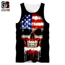 OGKB Summer Tops Men's 3D Print American Flag Hombre Singlets Cool Skull Vest Mens Clothes Hiphop Sleeveless Stringer Vest 5XL(China)