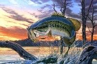Bass Fishing Lake Sunset Painting Poster Art Silk Fabric Home Decoration Print