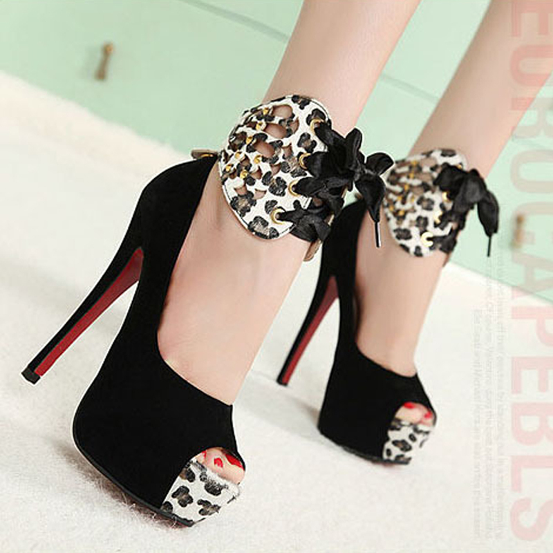 High quality summer new sweet sexy fashion hot women shoes waterproof suede high thin heels tied Pumps peep toe Leopard Sandals high quality new summer fashion hot women shoes thin high heels sexy party shining ladies peep toe metallic color pumps sandals