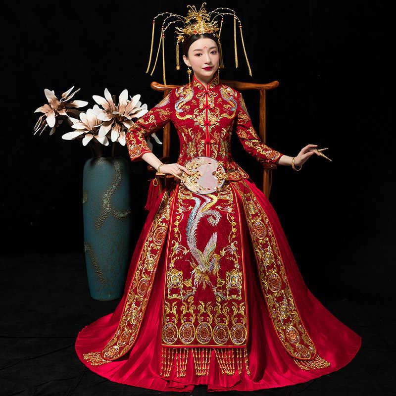 Vestiti Da Sposa Cinesi.Rosso Tradizionale Spettacolo Sposa Ricamo Cheongsam Sposato Abiti