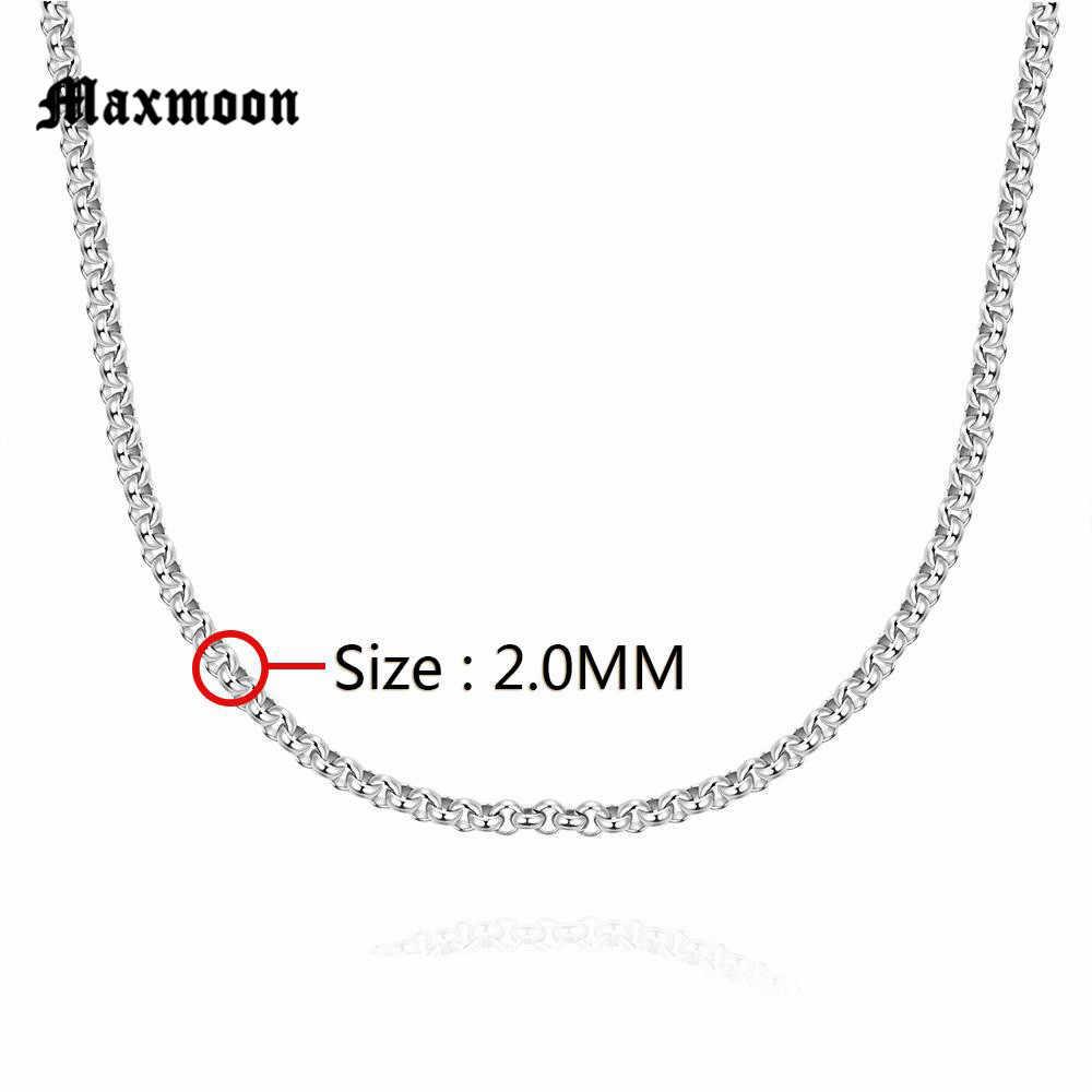 Maxmoon Breedte 2mm/3mm/4mm/5mm Nooit Vervagen Rvs Ronde Box Ketting zilver Kleur Waterdichte Mannen Cubaanse Ketting