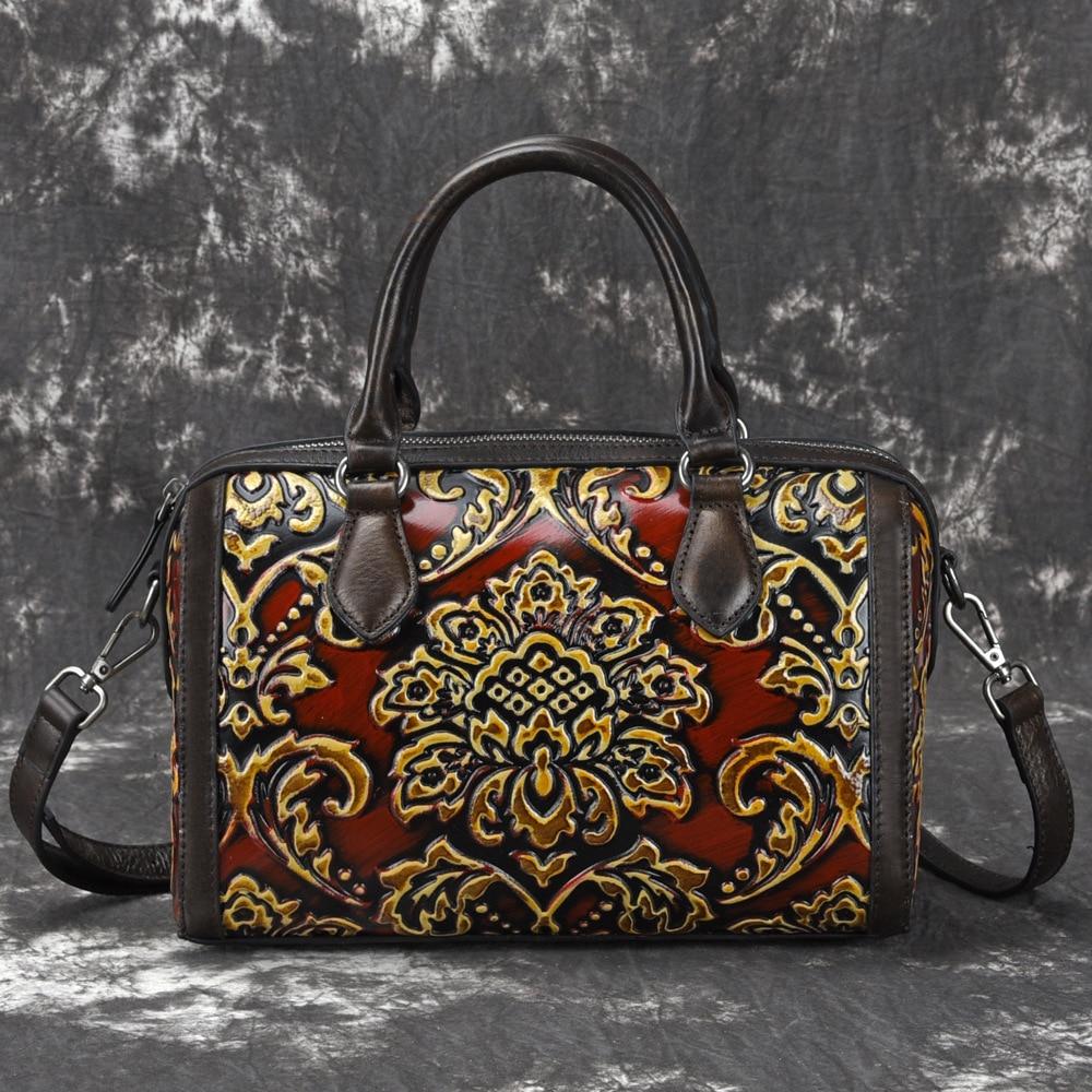 Handmade Vintage Womens Genuine Leather Handbags ladies Retro Elegant Shoulder Messenger Bag Embossed Floral Bolsas Shoulder bag