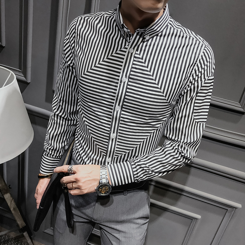 2018 Spring And Summer New Social Mens Shirt Long-sleeved Striped Print Slim Business Casual Fashion Temperament Dress