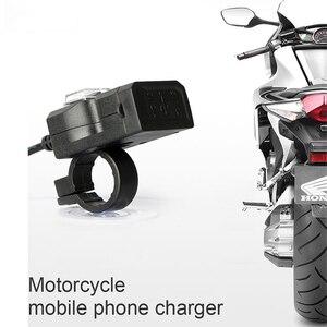 Image 3 - Newdesign المزدوج USB ميناء 12V للماء دراجة نارية دراجة نارية المقود شاحن 5V 2A محول مأخذ التيار الكهربائي للهاتف المحمول