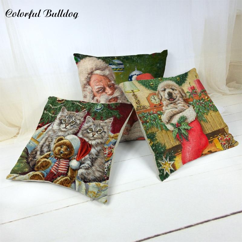 Hot Sale Christmas Cushion Cover Pattern Cartoon Santa Claus Dog Cat Reindeer Moon Christmas Hat Decor Home Party Sofa Car Seat