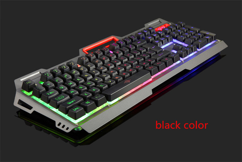 KuWFi English Gaming Keyboard USB Wired Mechanical Keyboard 104 Keys Changeable LED Backlit Anti-Ghosting For Large-Scale Game 7 colors led backlight single hand professional gaming keyboard usb wired anti ghosting keyboard for game