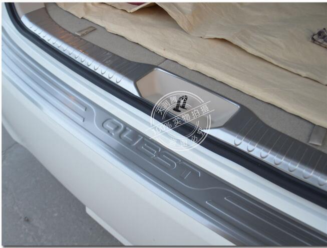 Protetor Amortecedor traseiro Cauda Bagageira Trunk Guarda Placa Placa de Chinelo Peitoril acessórios do carro para Nissan Quest 2015 2016 2 pçs/lote