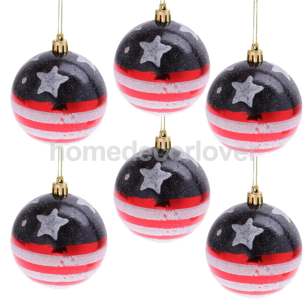 Patriotic Christmas Ornaments.Us 9 78 19 Off 6pcs Us Flag Patriotic Xmas Balls Baubles Holoday Christmas Tree Hanging Decoration Ornaments 8cm In Party Diy Decorations From Home