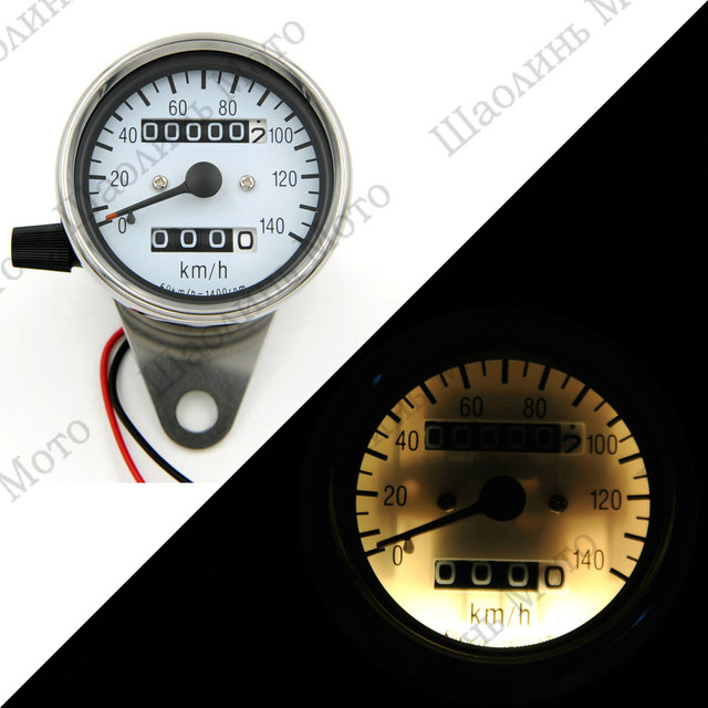 SCRAMBLER CAFE RACER Vintage Classic 60MM Stainless mechanical odometer speedometer White Face/White LED 0-140KM/H free shipping