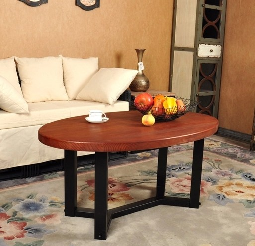 Oval Wood And Metal Coffee Table: American Vintage Oval Wood Combination, Wrought Iron
