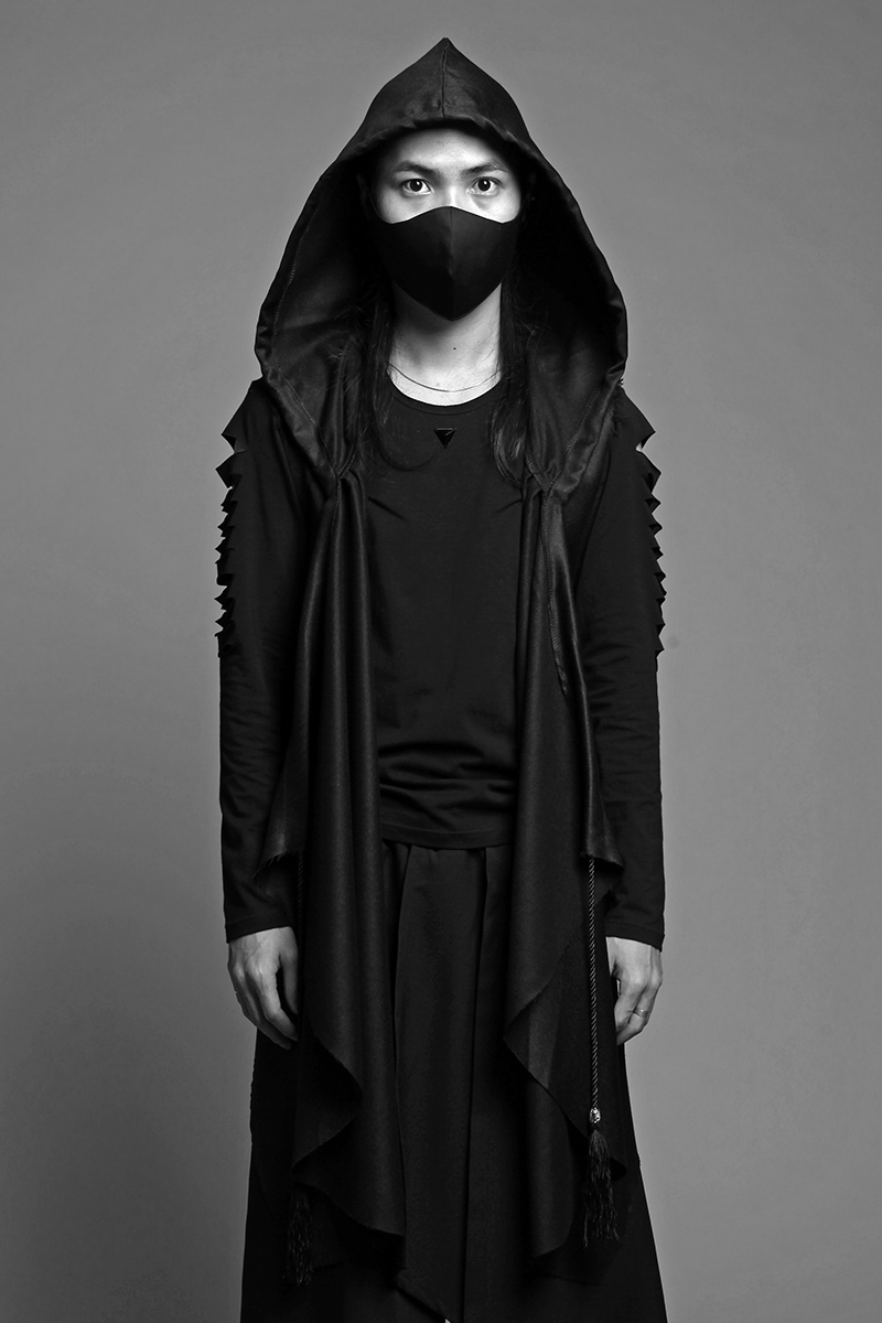 Dark Black Windbreaker Robes Male Clothing Hooded Cloak Vest Mens Trench Coat 2018 Mens Gothic Windbreaker Steampunk Men