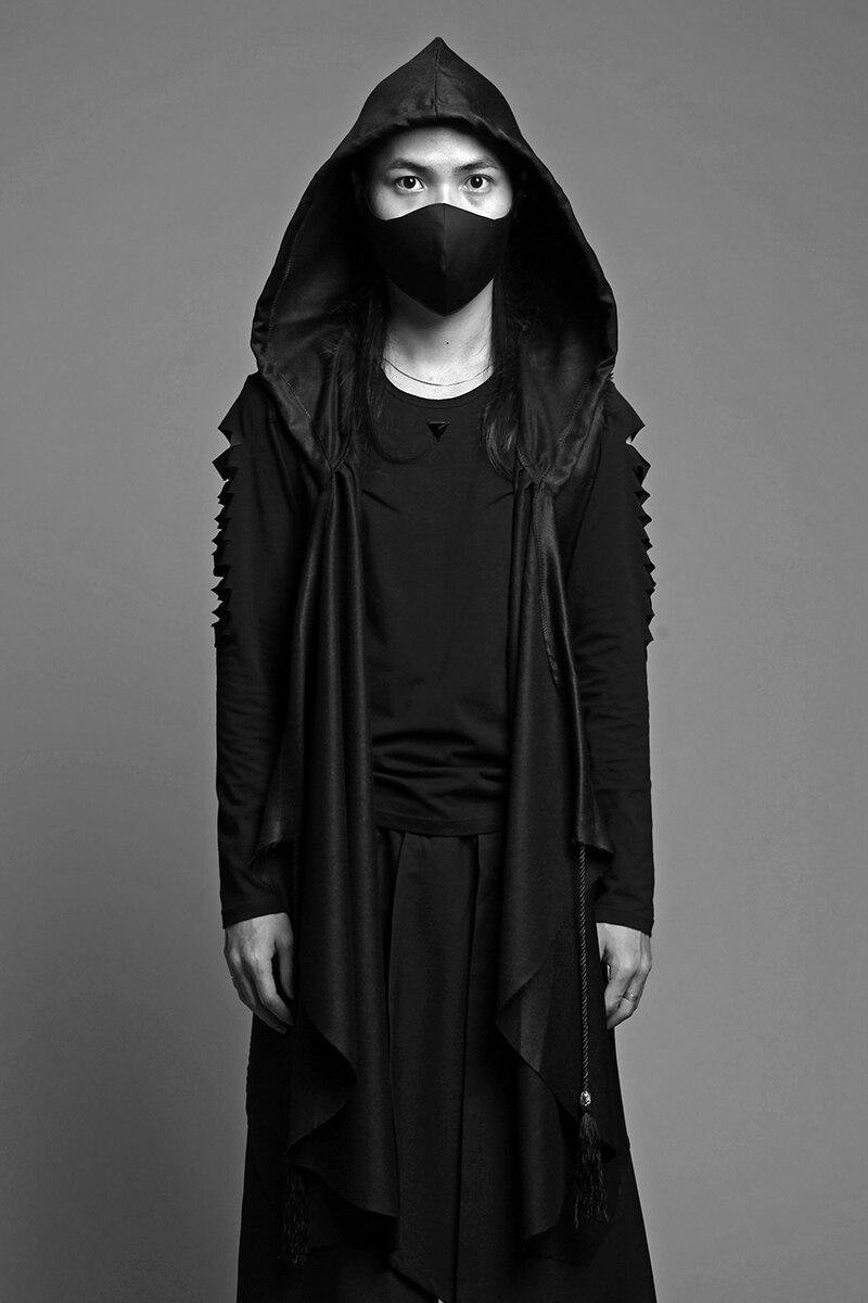 Foncé Noir Coupe-Vent Robes Mâle Vêtements Manteau À Capuchon Gilet Hommes Tranchée Manteau 2018 Hommes Gothique Coupe-Vent Steampunk Hommes