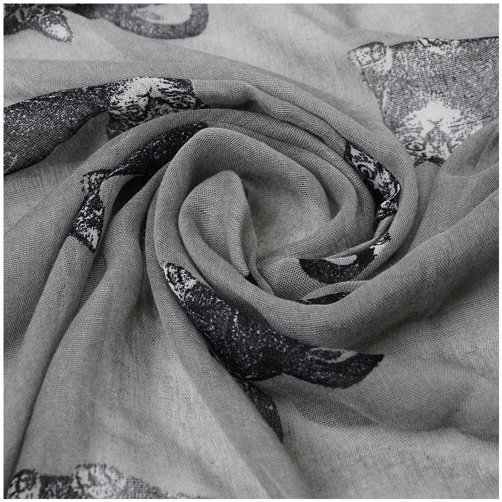 2018 Womens Scarf Cute Cat Print Long Scarf Soft Yarn Wrap Shawl Stole Neck Warm Scarves Women Sacrf Gray