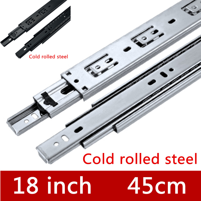 2 Pair 18 inches 45cm Three Sections Furniture Slide Drawer Slide Track accessories Guide Rail for Hardware Fittings section three track rail drawer slide rails 3 row ball bearing linear guides thicker