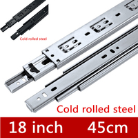 2 Pair 18 inches 45cm Three Sections Furniture Slide Drawer Slide Track accessories Guide Rail for Hardware Fittings