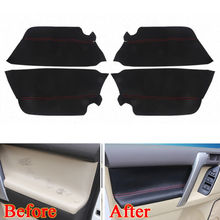 For Toyota Prado PU Leather Door Armrest Cover Trim Decor Panel Car-Covers Interior Anti-scratch Car Styling Accessories 2010-16