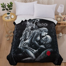 3d Beauty Skull Rose for Beds Thin Quilt Fashionable Bedspread 150x200cm Fleece Throw Blanket(China)