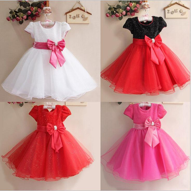 0740874a7 2015 Summer Baby Girls Big Bow Princess Party Dress Cute Tutu ...