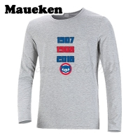 Men Winter Amazing Inspiring World Title Chicago T Shirt Long Sleeve Cubs Men's 1907 1908 2016 Three times W1125003