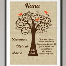 Ersonalized GRANDMA Birthday Gifts Family Tree Wall Art Poster Print Pictures Canvas Painting Home Decoration Wedding