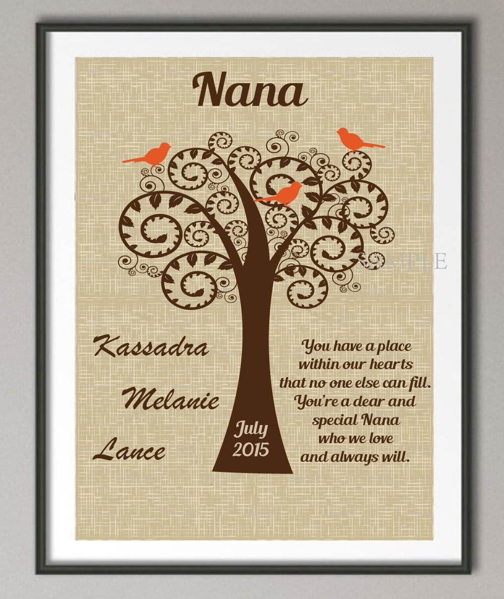 Ersonalized GRANDMA Birthday Gifts Family Tree Wall Art Poster Print Pictures Canvas Painting Home Decoration Wedding Decor Gift