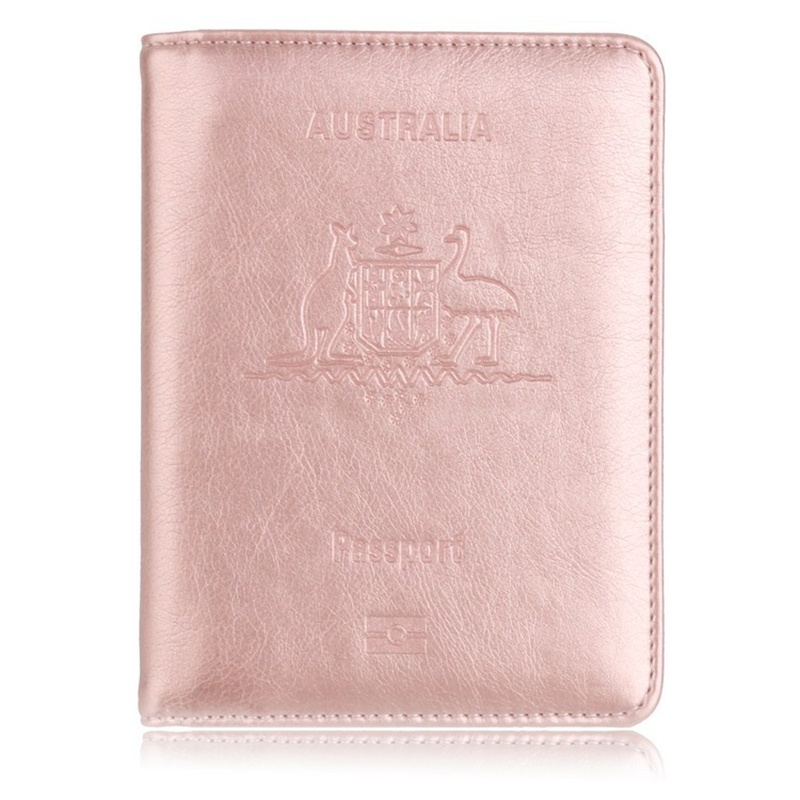 Hot Sale RFID Travel Passport Holder for Australia Leather Protector Passport Cover for Business Credit Card Holder Case