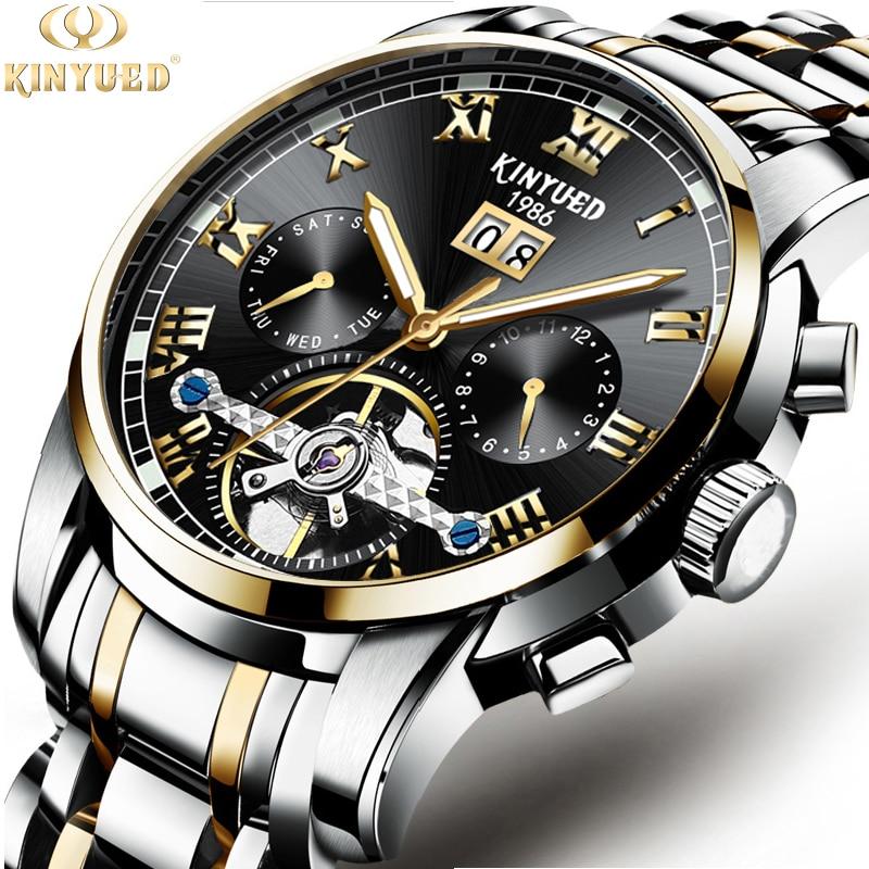 все цены на KINYUD 2018 Fashion Black Golden Star Luxury Design Clock Mens Watch Top Brand Luxury Mechanical Skeleton Watch Male Wrist Watch онлайн