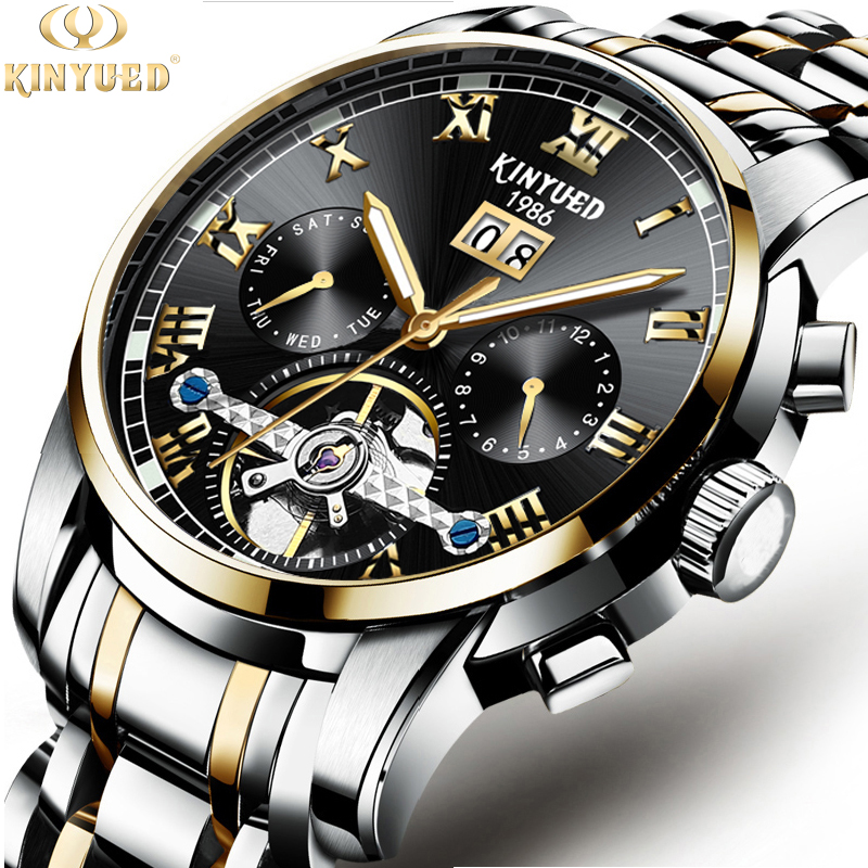 все цены на Men Watch Top Brand KINYUED Luxury Automatic Mechanical Watch Men Full Steel Business Waterproof Sport Watches Relogio Masculino