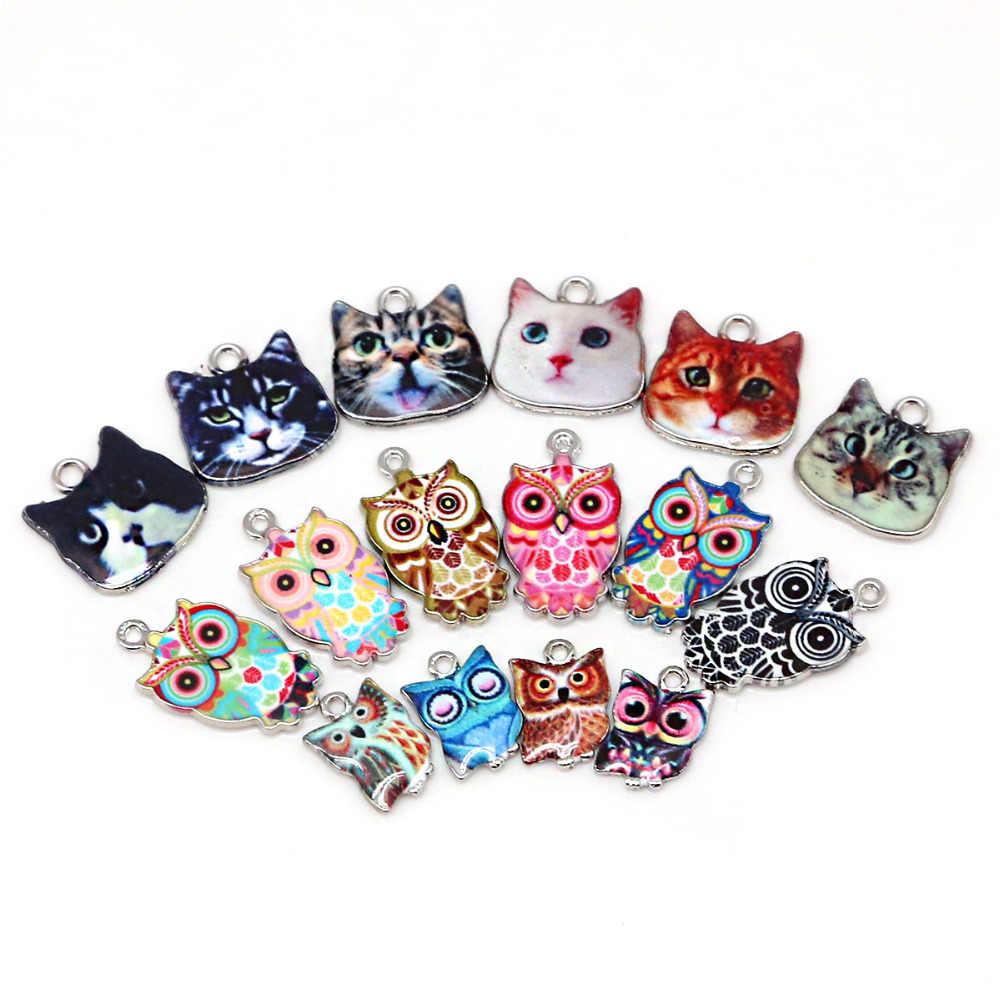 Multi esmalte encantos para fazer jóias flutuante metal coruja gato pingente para viver flutuante de vidro feminino diy moda colar