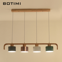 Modern LED Pendant Lights With Metal Lampshade Wooden Hanging Lamp