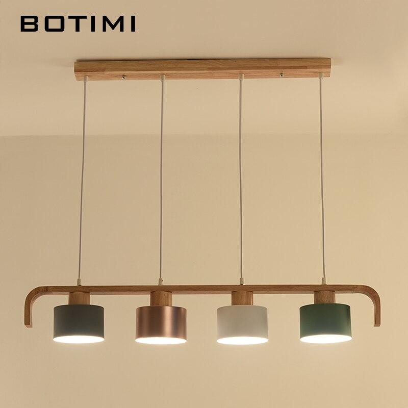 BOTIMI современный светодиодный подвесной светильник с металлическим абажуром для столовой деревянный подвесной светильник E27 деревянный кухонный светильник - 5