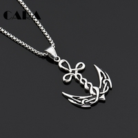 CARA NEW 2 Colors Navy Accessory Twisted Anchor Design Charm Necklace Well Plated 316L Stainless Steel