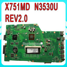 X751MD for ASUS motherboard X751MD REV2.0 Mainboard GT 820M 90NB0600-R00040 Processor N3539 On Board N15V-GM-S-A2 100% test