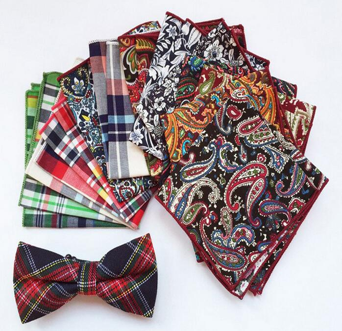 20 Styles Vintage Men's Cotton Pocket Square Wedding Square Paisley Hanky Western Style Floral Handkerchief For Suit Pocket