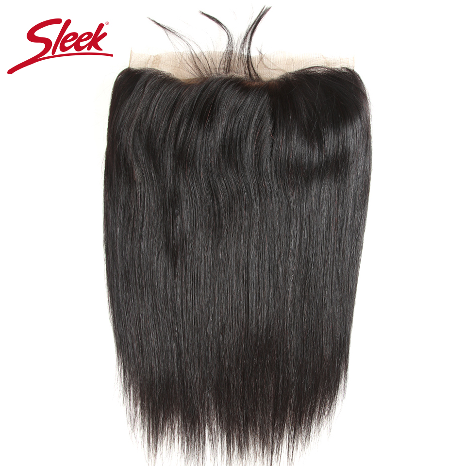 Sleek Colorful Human Hair Peruvian Straight Lace Frontal Closure 13x4 Ear To Ear Free Part Closure 8-22 Inches Remy Human Hair