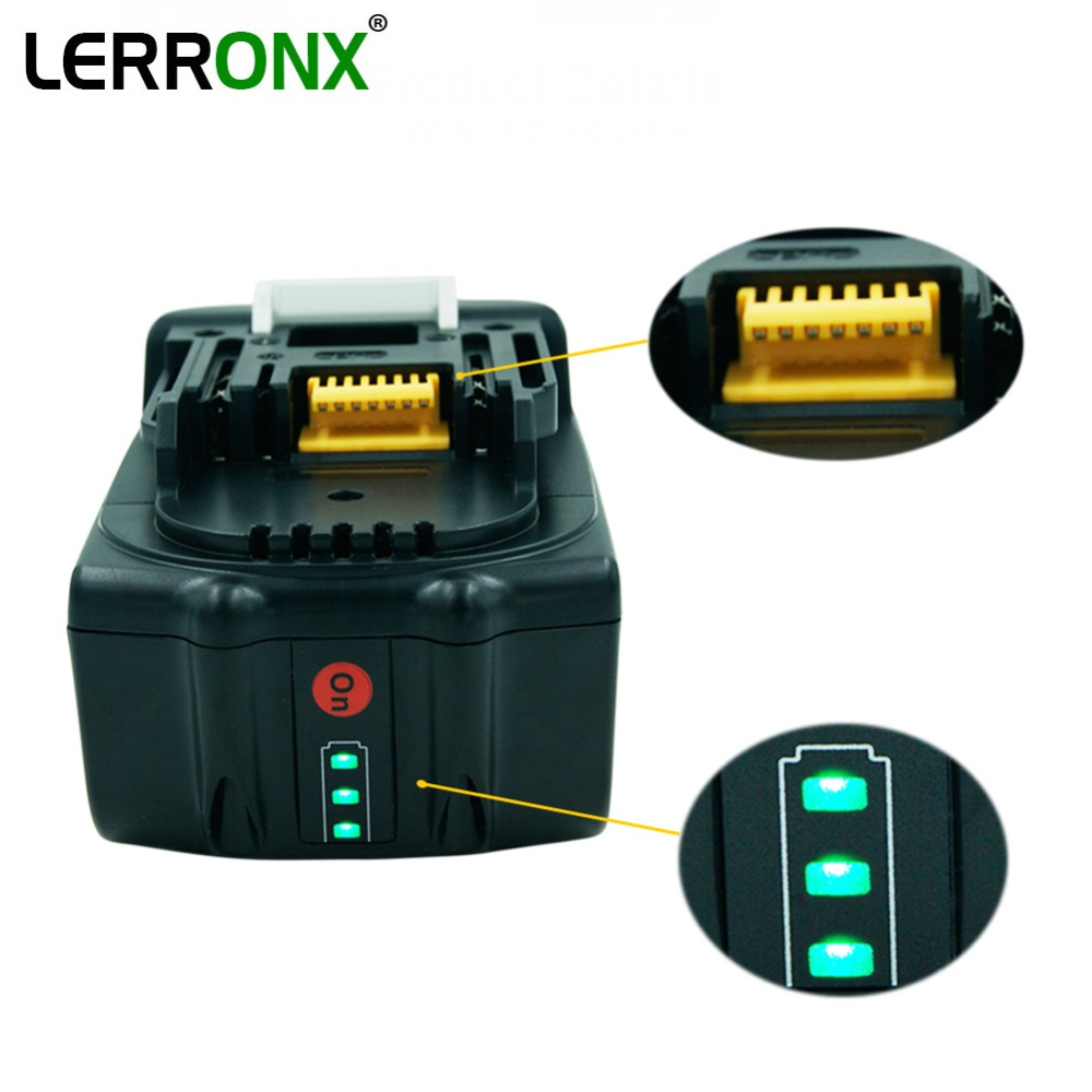 BL1860 18V 6.0Ah Rechargeable Lithium Ion Battery For Makita Power Tools Drills Replace For BL1815 BL1830 BL1840 194205-3 LXT400