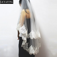 2016 New Two Layers Lace Edge Short Wedding Veil With Comb 2 Layers 0 9 Meter