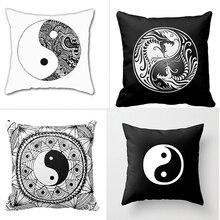 Impresión de lujo Chino Yin Yang Dragones Logotipo Clásico Diseño Simple Cuadrado Con Cremallera Decorativa Decoración Del Hogar Fundas de Colchón