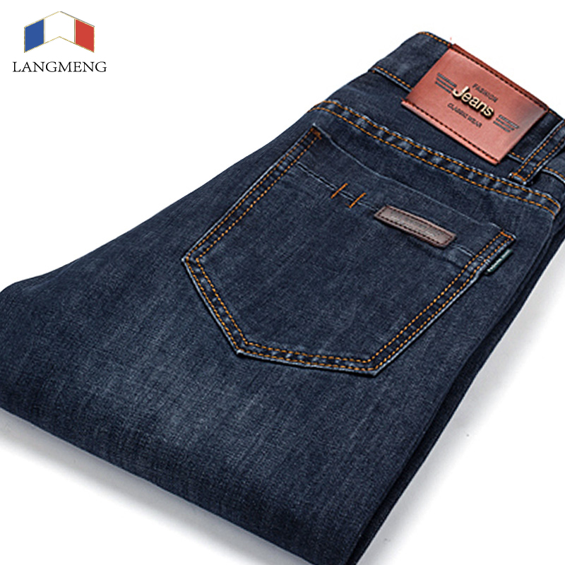 LANGMENG Full Length Solid Regular Fit Jeans Men Brand Designer Clothing Denim Pants Luxury Casual Trousers Male Brand Clothing jeans men fashion full length solid skinny jeans men brand designer clothing denim pants luxury casual trousers male plus size