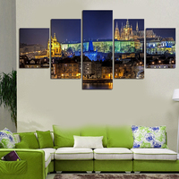 5 Pcs Wall Art Abstract Beautiful Night Scenery Modern HD Picture Home Decoration Living Room Canvas