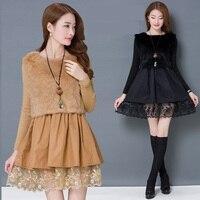 4xl New Velvet Black Lace Dress Female A2307