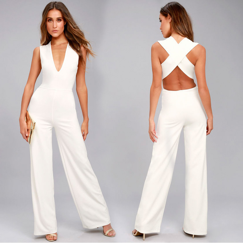 MUXU white casual fashion woman clothes summer jumpsuit wide leg jumpsuits backless v neck body feminino rompers womens jumpsuit