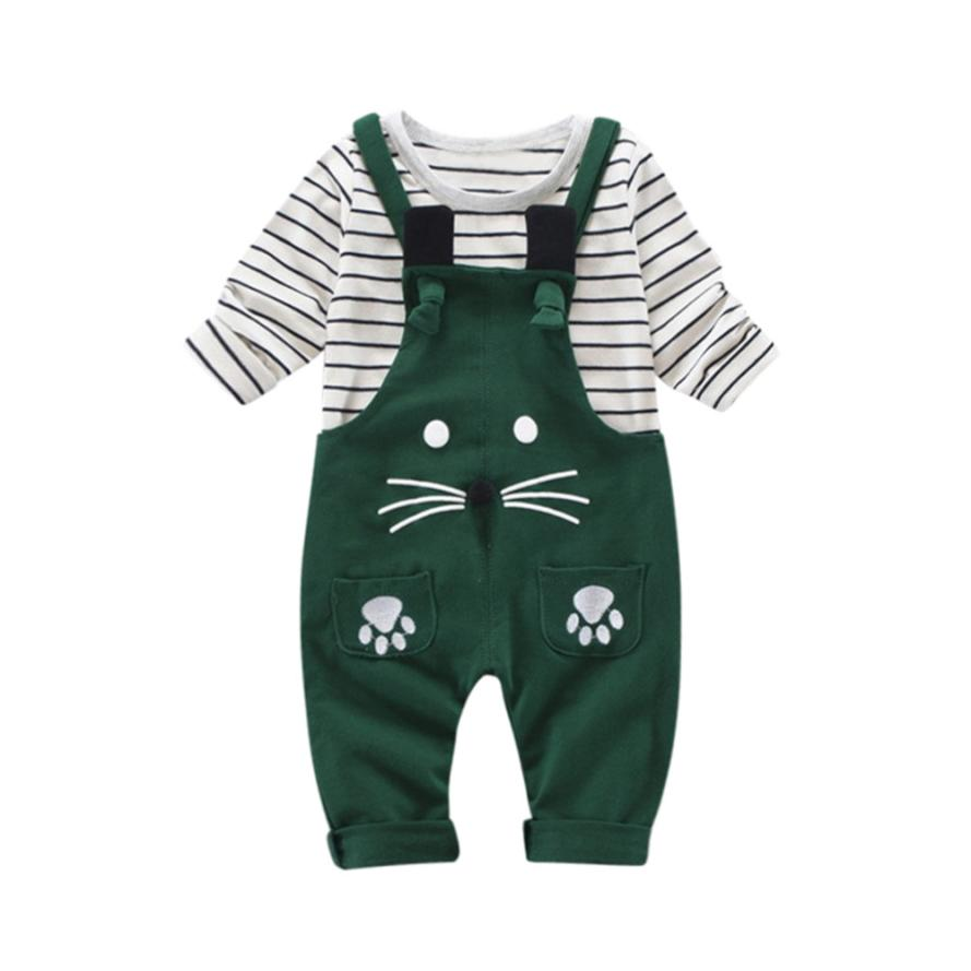 2018 Fashion Hot Sale 2Pcs Infant Toddler Baby Boys Girl Stripe Print Tops +Pants Outfits Clothes Set Baby Set Clothing 6.22