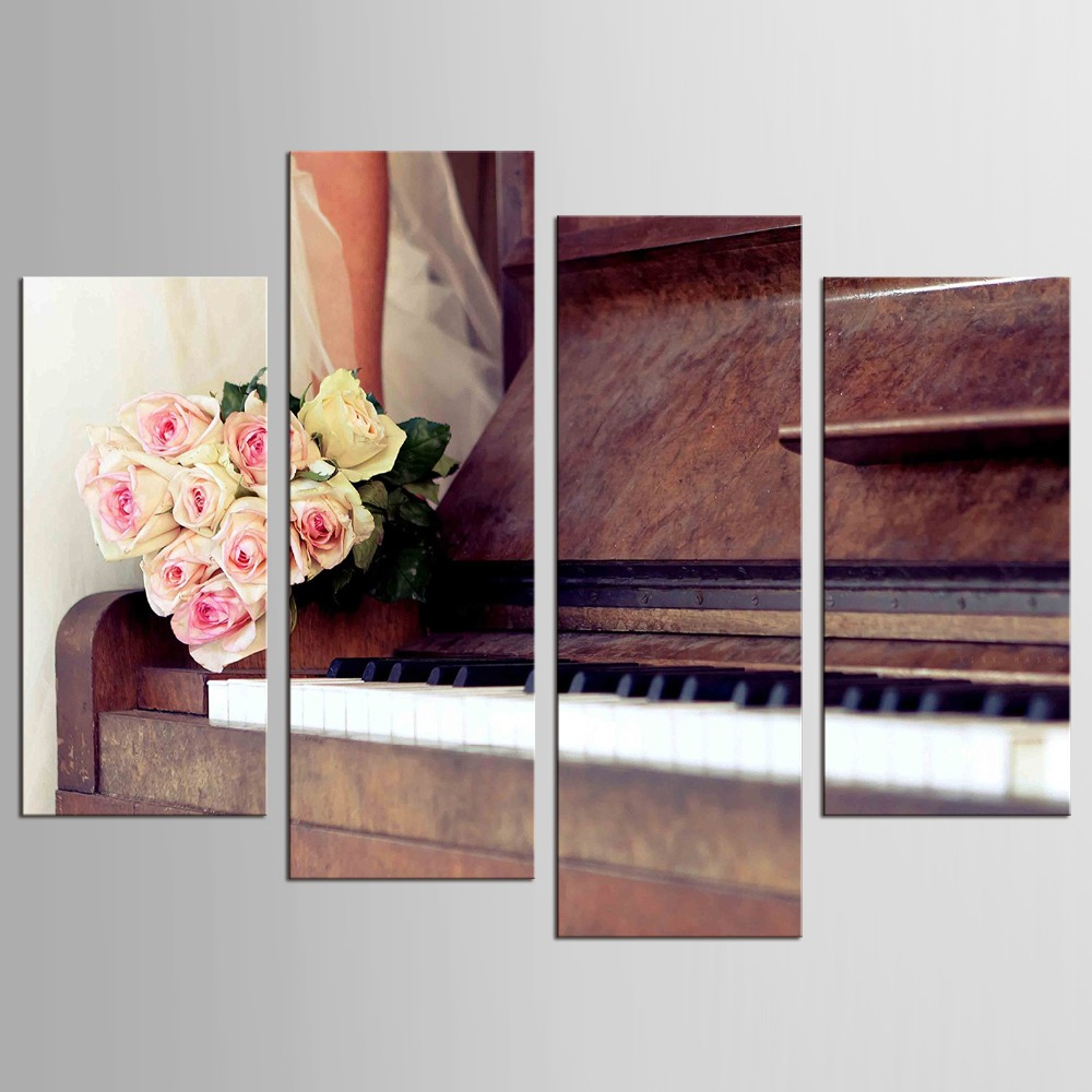4 Panels painted canvas painting vintage home decor wall pictures for living room painting by Piano picture in Painting Calligraphy from Home Garden