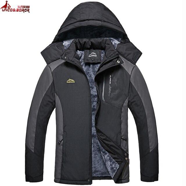 Best Price UNCO&BOROR Warm Outwear Winter Jacket Men Thick plus velvet waterproof Windproof Coar Casual Men Jacket parka coat size M~5XL