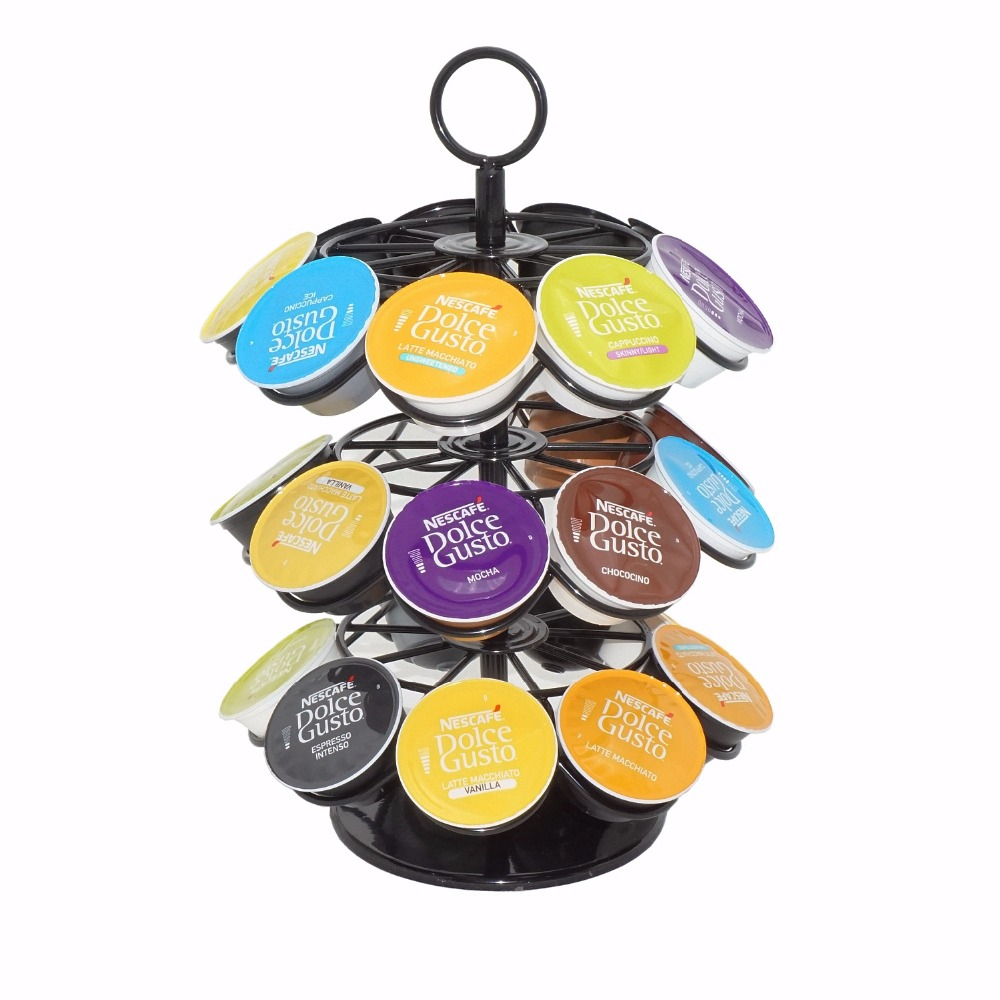 Removable Coffee Pod Holder 360 Degree Rotating Rack Coffee Capsule Storage Organizer For 27pcs Dolce Gusto Or K-Cups Capsule